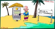 Ian Narev on Gili Trawangan  ANZ only bank to have ATM there Margin Call Australian cartoon 2016-01-26