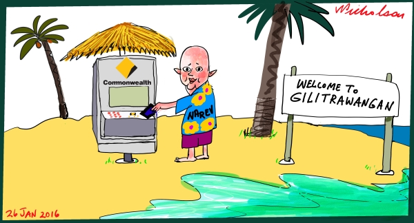 Ian Narev on Gili Trawangan  ANZ only bank to have ATM there Margin Call Australian cartoon 2016-01-26