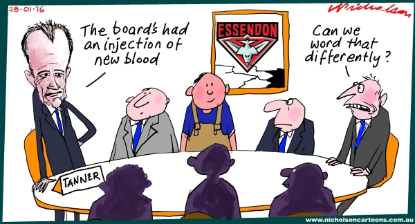 Essendon Board  high turnover new blood Tanner cartoon Margin Call 2016-01-28