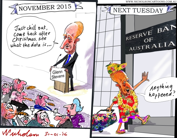 Glenn Stevens told markets to chill out returns from hols The australian business cartoon 2016-01-30