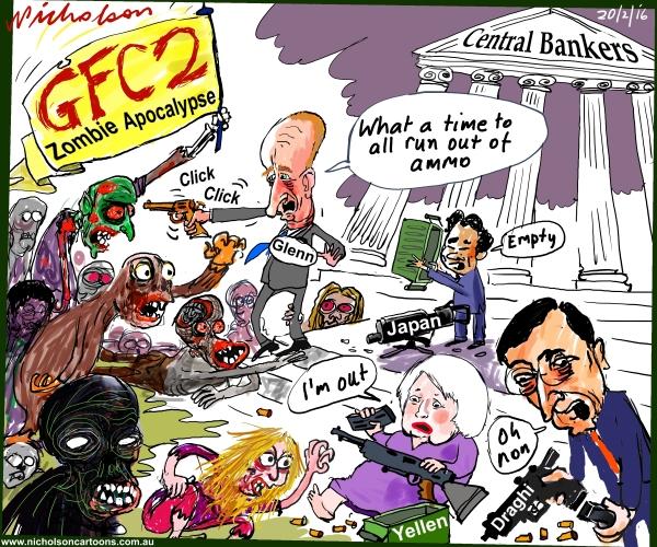 Central Bankers v GFC2 Zombie Apocalypse Glenn Stevens, Yellen, Draghi TheAustralian 2016-02-20