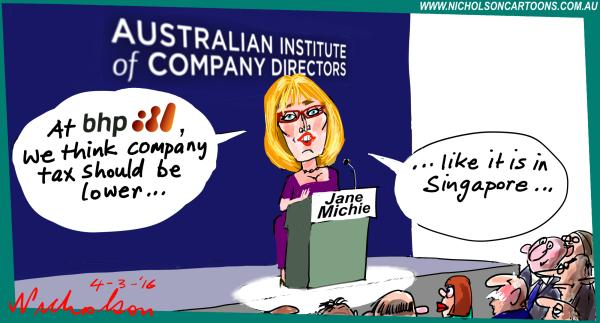 Michie BHP wants less company tax 2016-03-04