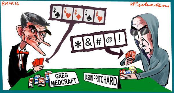 Greg Medcraft Jason Pritchard involved in poker game over bank conduct cartoon 2016-03-08