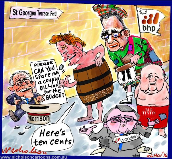 2016-03-26 Scott Morrison begs money for budget but resource majors are strapped