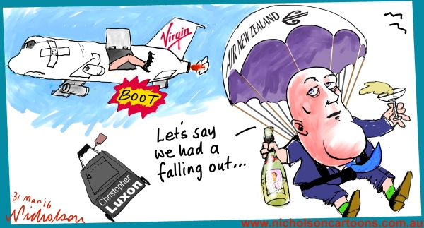 2016-03-31 Christopher Luxon pushed out of Virgin plane Margin Call cartoon