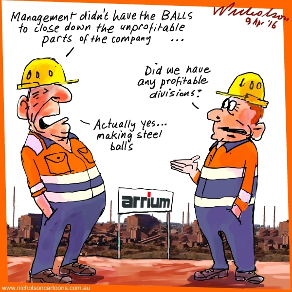 2016-04-09 Arrium goes bad steel balls Business cartoon The Australian