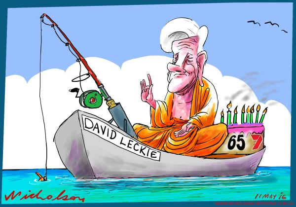 2016-05-10 Leckie Buddha fishing birthday cake Channel Seven 7 The Australian cartoon