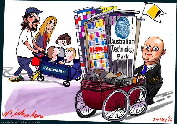 2016-05-24 Mike Cannon-Brookes Ian Narev CBA Australian Technology Park Margin Call Cartoon