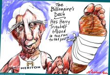 2016-05-26 Harry Triguboff broke his foot is the week before announcement of Australia's richest person cartoon