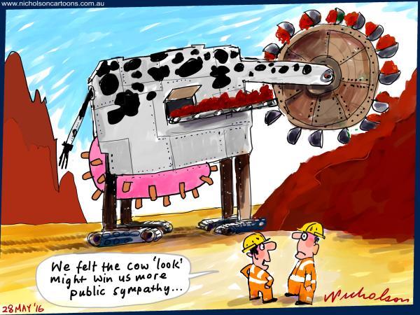 2016-05-28 Dairy farmers win sympathy Iron ore glut miners try follow suit cow cartoon business Australian