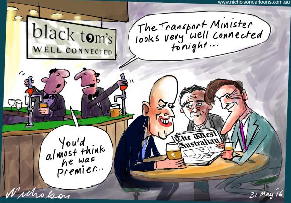2016-05-31 Dean Nalder beer with West Australian Matgin cartoon