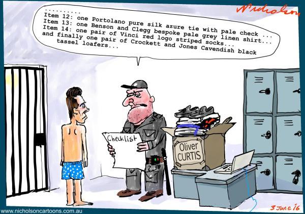 2016-06-03 Oliver Curtis  guilty of insider trading  checks in clothing  Margin Call Australian cartoon