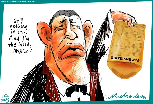2016-06-15 James Packer no pay packet Margin Australian cartoon