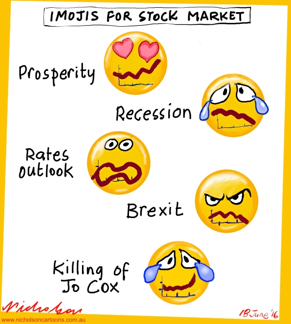 2016-06-18 Killing of Jo Cox stock markets rise  Imojis Brexit cartoon for Business Australian
