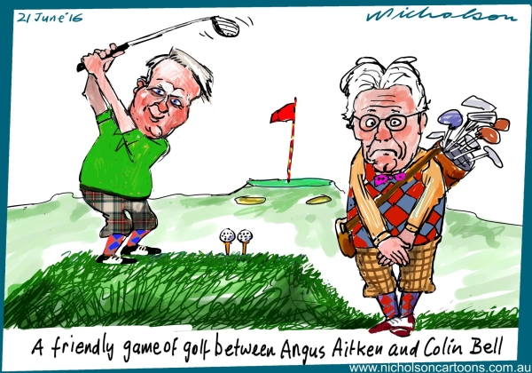 2016-06-21 Angus Aitken Colin Bell playing golf two balls Margin Call Australian cartoon