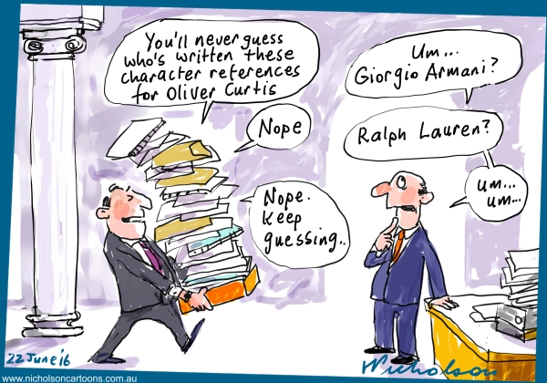 2016-06-22 Oliver Curtis produces character references before sentencing Margin Call cartoon The Australian