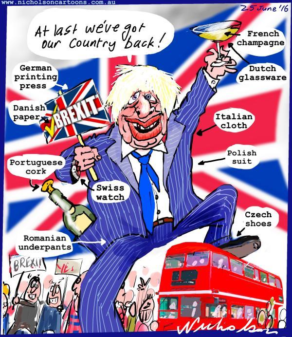 2016-06-25 Boris Johnson Brexit Australian cartoon