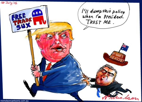 2016-07-18 Trump Free Trade Sux Hockey Australian Financial Review  cartoon