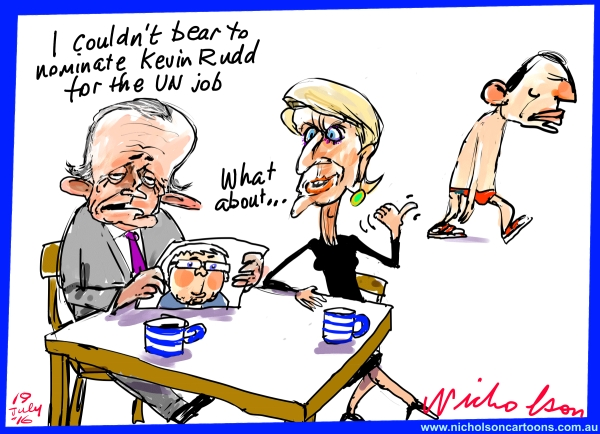 2016-07-19 Turnbull Bishop Abbott Rudd UN Australian Financial Review cartoon