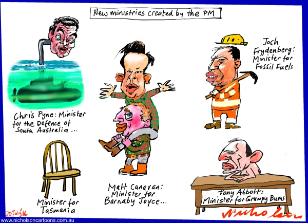 2016-07-20 New ministries created by Turnbull.  Frydenberg, Canavan, Pyne, Joyce Abbott. Australian Financial Review cartoon