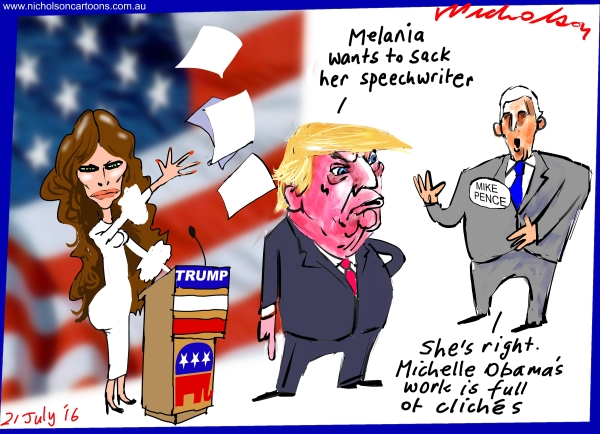 2016-07-21  Plagiarism Melania Trump Michelle Obama Pence Australian Financial Review cartoon