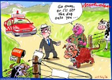 2016-07-23 Productivity Commission meets Barnaby Joyce Scott Morrison farm gate Australian Financial Review cartoon