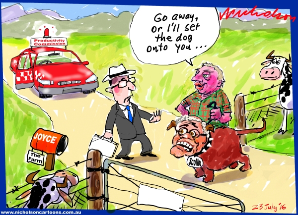 2016-07-23 Productivity Commission meets Barnaby Joyce Scott Morrison farm gate Australian Financial Review cartoon