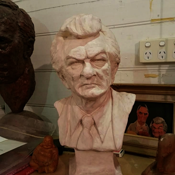2016-07-25 Lost and found in my studio:  study of Bob Hawke done in 1984 as a preliminary sketch for Ballarat PM avenue bust. It's 3/4 life size. Rather different from the final 125% one in Ballarat. I'm thinking of making an edition of 5 bronzes  and selling it through this webpage. Maybe $15,000 each ... who knows. Go to contact page to find out how to contact me....