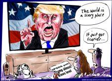 2016-07-25 Trump world scary scarier  Australian Financial Review cartoon unpub