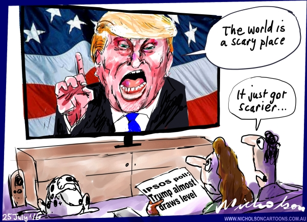 2016-07-25 Trump world scary scarier  Australian Financial Review cartoon unpub