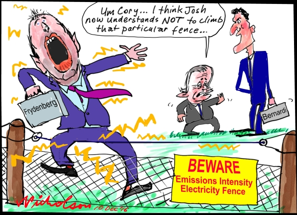 2016-12-10 Emissions Intensity Josh Frydenberg Cory Bernadi  Malcolm Turnbull cartoon Australian Financial Review