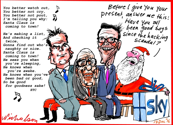 2016-12-13 Sky Murdoch Lachlan Rupert James trying to buy Skynews cartoon Australian Financial Review