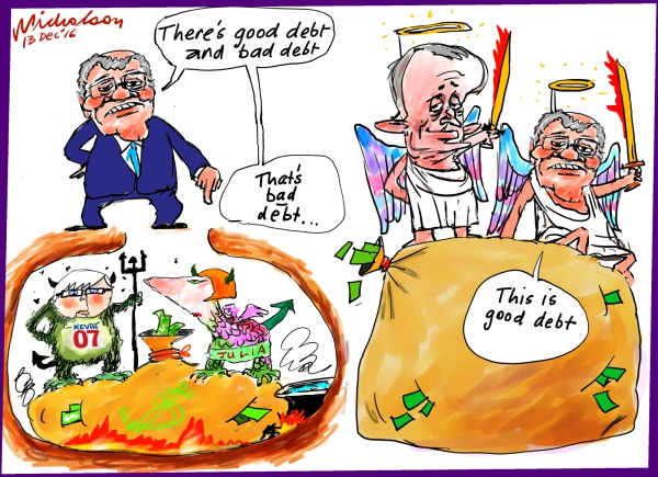 2016-12-14 Scott Morrison has told us theres good and bad debt Australia Financial Review cartoon