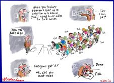 2016-12-16 Teachers must tick boxes - grants with complex conditions lead to time-wating box-ticking for teachers without really increasing effectiveness or effective testing. Cartoon in Financial Review.