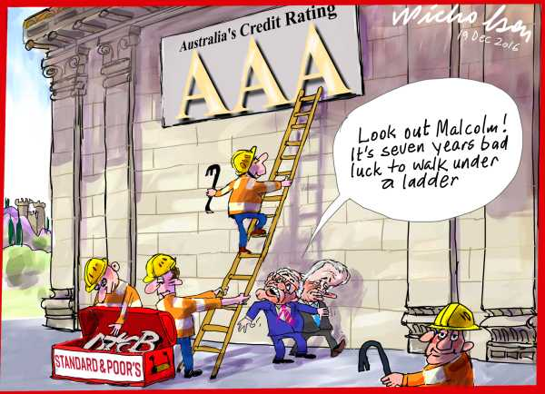 2016-12-19 AAA credit rating Turnbull and Scott Morrison ladder danger of loosing triple A cartoon Australian Financial Review