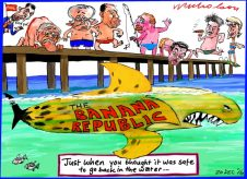 2016-12-20 Banana republic debate resurface shark cartoon Australian Financial Review