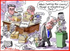 2016-12-21 Turnbull Morrison Cormann Myefo who's running the country Moody's Standard and Poor's cartoon