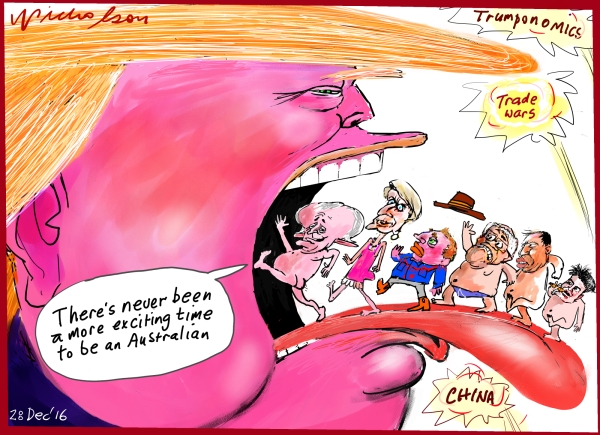2016-12-28 Trump tongue Never better time Time to be an Australian cartoon in Australian Financial Review