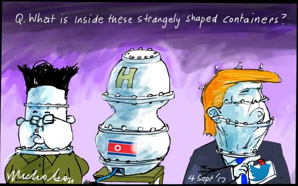 Kim Jong-Un North Korea H-Bomb strange shape Trump Financial Review cartoons 2017-09-04