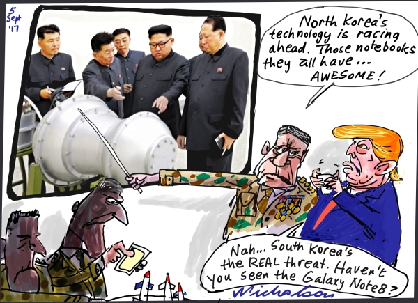 North Korean Notebooks vs Galaxy Note8 Financial Review cartoon 2017-09-05