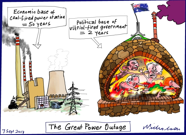 Coal-fired power 50 yr base vs vitriol-powered govt 2 year base Financial Review cartoon 2017-09-07