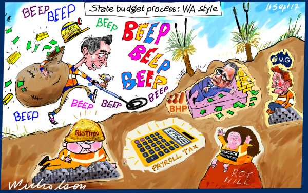 Mark McGowan WA Premier WA budget Payroll tax resources tax metal detector Financial Review cartoon 2017-09-11