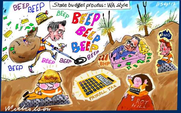 Mark McGowan WA Premier WA budget Payroll tax resources tax metal detector Financial Review cartoon 2017-09-11