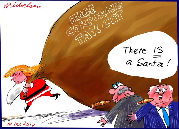2017-12-18 There IS a Santa Trump corporate tax cuts announced cartoon