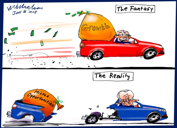 2018-06-08 Morrison ute fantasy vs lost opportunities Australian Financial Review cartoon