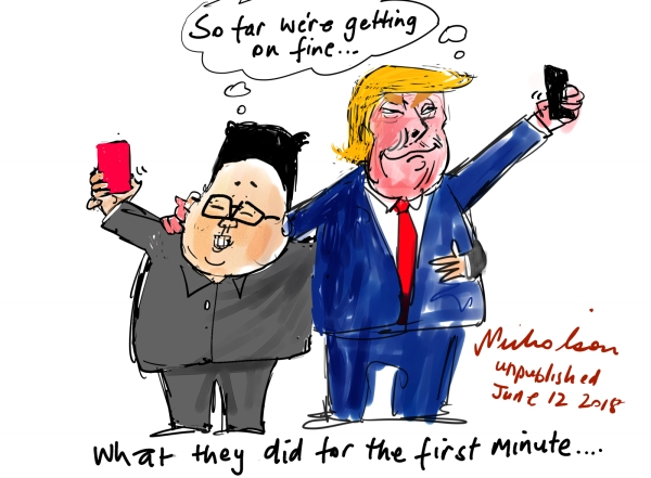 2018-06-13 Selfie diplomacy Korea summit Trump Kim Jong-un unpublished cartoon sketch 600