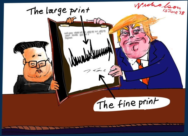 2018-06-13 Summit Trump Kim Jong-un signatures fine print Australian Financial Review  cartoon