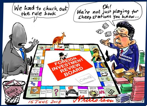 2018-06-15 Foreign Investment Review Board rules Chines investment in Australia China monopoly game Financial Review cartoon