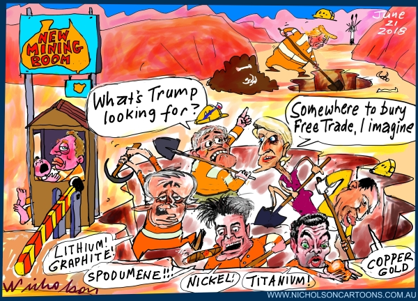 2018-06-21 New mining boom Turnbull Trump Morrison Pyne Corman Bishop Frydenberg Free Trade Australian financial Review cartoon