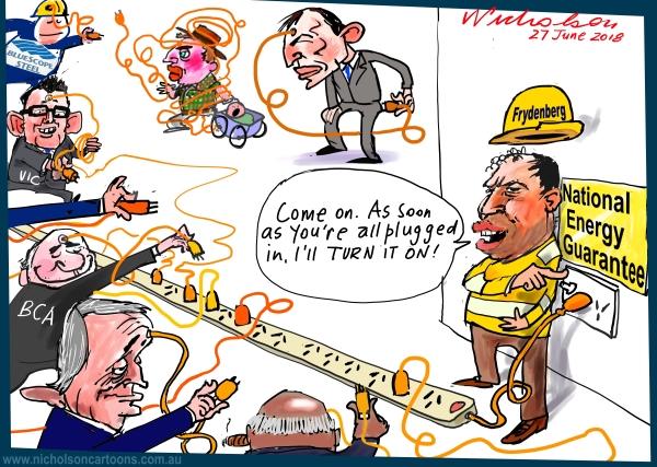 2018-06-27 Frydenberg drums up support for NEG Australian Financial Review cartoon